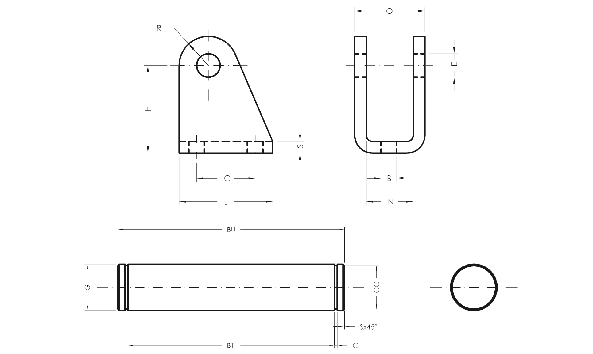 Female Hinge with Pin - Product structure